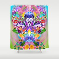 anime Shower Curtains featuring Anime Flower Explosion by Luke Dorman