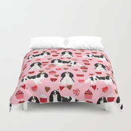 Cavalier King Charles Spaniel tricolored valentines day cupcakes dog breed spaniels pet gifts Duvet Cover