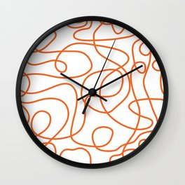 Doodle Line Art | Persimmon / Burnt Orange Lines on White Background Wall Clock