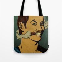 watchmen Tote Bags featuring It's Always Sunny in Watchmen - Mac by Jessica On Paper