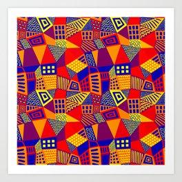 Segmented Abstract 070717 - Colors 01 Art Print
