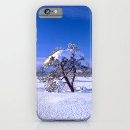Winter landscape with two trees and clear blue sky iPhone Case