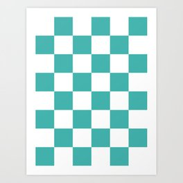 Large Checkered - White and Verdigris Art Print