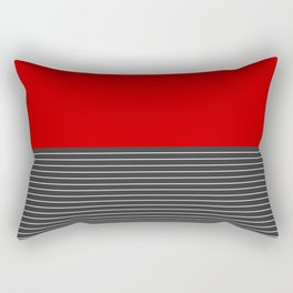Half thin striped red Rectangular Pillow