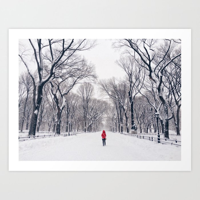 A Modern Little Red Riding Hood In Central Park Art Print By Staceybramhallphotography
