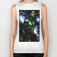 john green Biker Tanks featuring John Stewart : The Green Lantern by André Joseph Martin