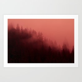 0366 Chocolate Forest with Living_Coral Fog, AK Art Print