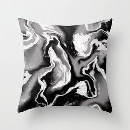 Smokey Black & Grey Marble Throw Pillow