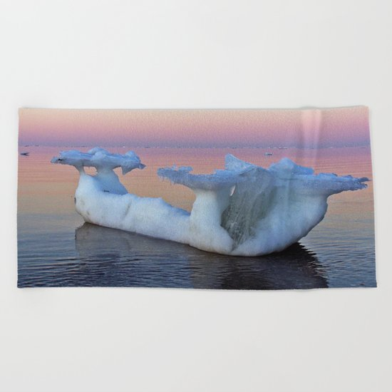 Viking Iceship on the Sea Beach Towel