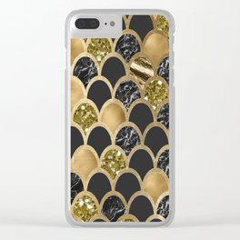 Ebony ink - golden mermaid scales Clear iPhone Case