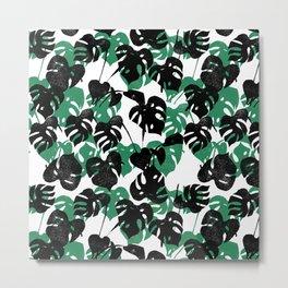 Monstera cheese plant linocut pattern minimal black and white house plants Metal Print