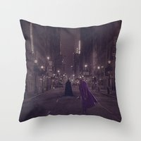 gotham Throw Pillows featuring Gotham Nights by Ed Burczyk
