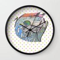 ducks Wall Clocks featuring Ducks by Inez Gulyas
