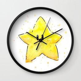 Invincibility Star Mario Watercolor Geek Gamer Art Wall Clock