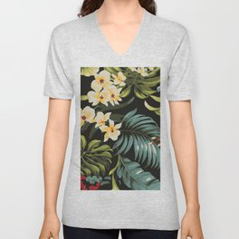 Hawaiian tropical floral palms pattern Unisex V-Neck