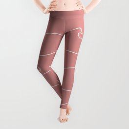 Waves & Lines - Pattern - Dusty Pink Leggings