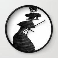 noir Wall Clocks featuring noir by 2bWRN
