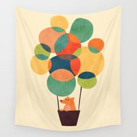 hot air balloon Wall Tapestries featuring Whimsical Hot Air Balloon by Picomodi