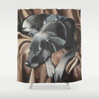 gizmo Shower Curtains featuring Gizmo by Athena Cooper