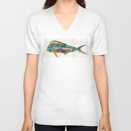 Colorful Dolphin Fish by Sharon Cummings Unisex V-Neck