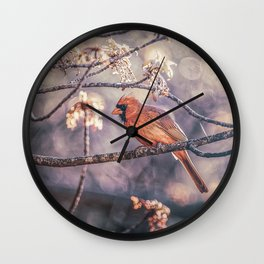 Northern Red Cardinal Spring Wall Clock