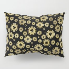 Chinese Coin Pattern Gold on Black Pillow Sham