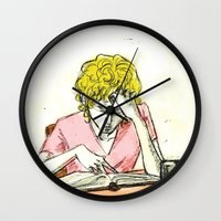les mis Wall Clocks featuring Enjolras studying Les Mis by Pruoviare