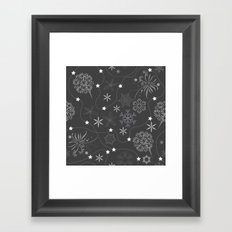 Stars on a string with snowflake and fireworks Framed Art Print