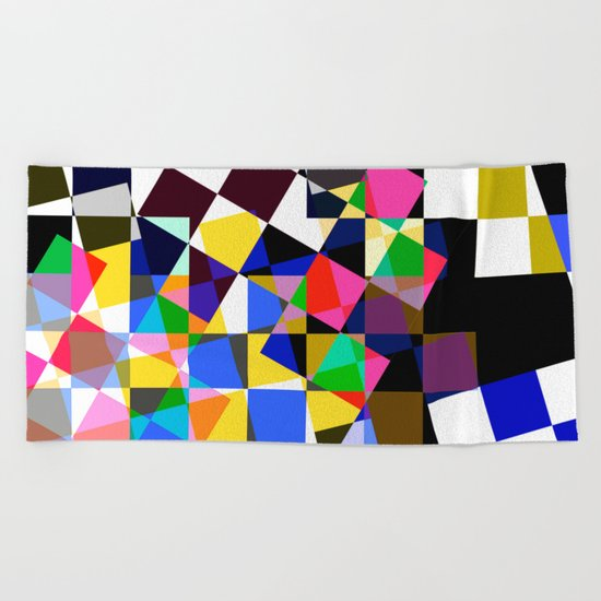 geometric sparkling colors. Beach Towel