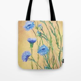 Bachelor Buttons, Flower Painting, by Faye Tote Bag