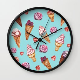 Pink and Blue ice cream pattern Wall Clock