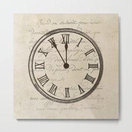 Script Clock 3 Metal Print