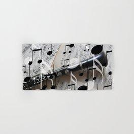 music notes white black clarinet Hand & Bath Towel
