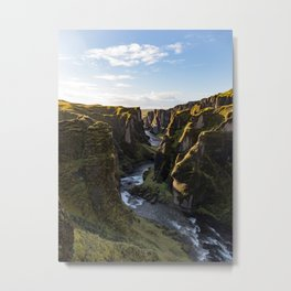Lush Green Canyon River Bathed In Sunlight Metal Print