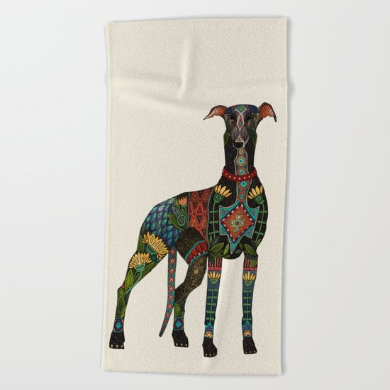 greyhound ivory Beach Towel