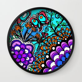 Doodle Art Flowers and Butterflies Wall Clock