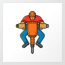 Construction Worker Jackhammer Mono Line Art Art Print