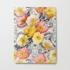Collage of Poppies and Pattern Metal Print