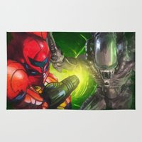 xenomorph Area & Throw Rugs featuring Dangerous Bounty by VGPrints