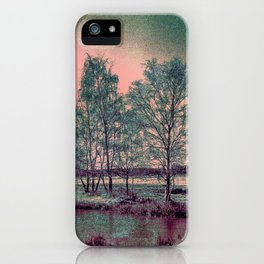 Abstract Winter Sun and Birch Trees  iPhone Case