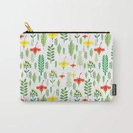Colorful orange yellow green tropical floral Carry-All Pouch