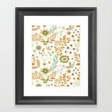 Little Creme Garden Flowers Framed Art Print