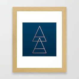 Rule of Thirds Triangles: Rose Gold & Navy Framed Art Print