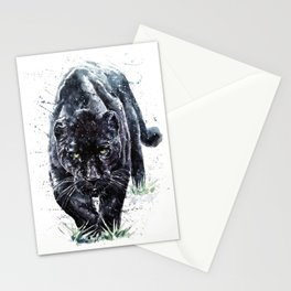 Panther watercolor painting predator animals puma Stationery Cards