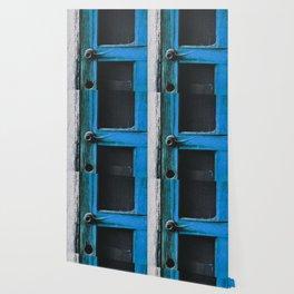 closeup old blue vintage wood door texture background Wallpaper