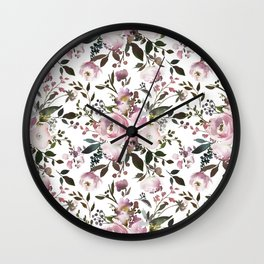 Blush rose pink green watercolor elegant floral Wall Clock