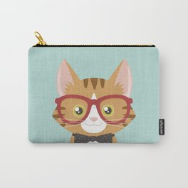 Orange Tabby Hipster Cat Carry-All Pouch