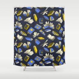 Spellbooks, blue Shower Curtain