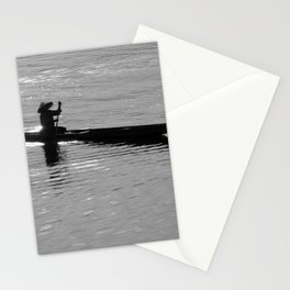 Rowing Row Boat Mekong River, Laos, Silhouette Stationery Cards