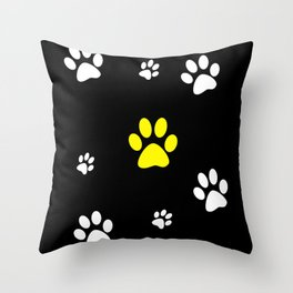 Lots of paws with yellow Throw Pillow